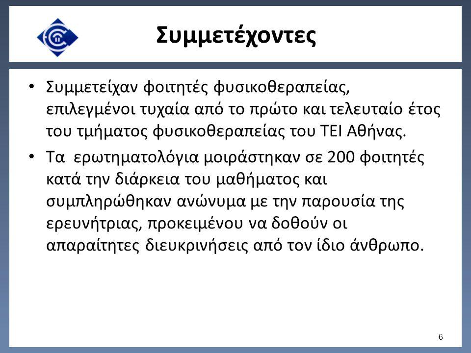 Συμμετέχοντες Συμμετείχαν φοιτητές φυσικοθεραπείας, επιλεγμένοι τυχαία από το πρώτο και τελευταίο έτος του τμήματος φυσικοθεραπείας του ΤΕΙ Αθήνας.