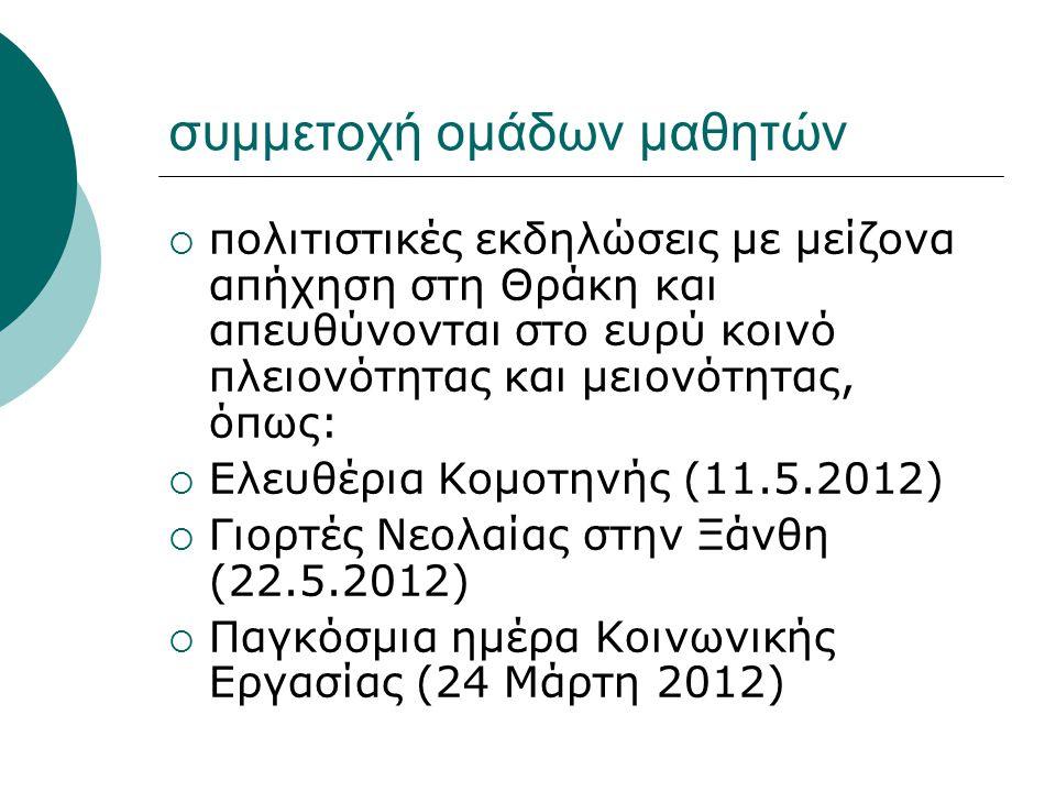 συμμετοχή ομάδων μαθητών  πολιτιστικές εκδηλώσεις με μείζονα απήχηση στη Θράκη και απευθύνονται στο ευρύ κοινό πλειονότητας και μειονότητας, όπως: 