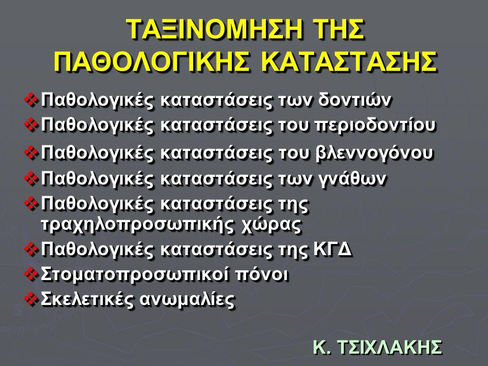 Κ. ΤΣΙΧΛΑΚΗΣ ΤΑΞΙΝΟΜΗΣΗ ΤΗΣ ΠΑΘΟΛΟΓΙΚΗΣ ΚΑΤΑΣΤΑΣΗΣ  Παθολογικές καταστάσεις των δοντιών  Παθολογικές καταστάσεις του περιοδοντίου  Παθολογικές κατα
