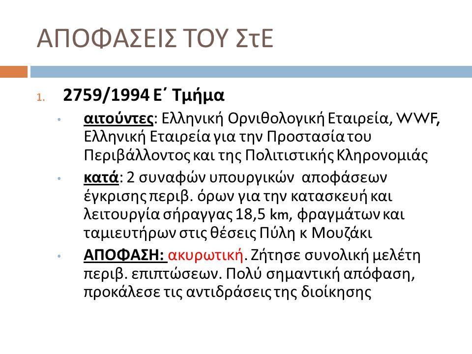 ΑΠΟΦΑΣΕΙΣ ΤΟΥ ΣτΕ 1. 2759/1994 Ε΄ Τμήμα αιτούντες : Ελληνική Ορνιθολογική Εταιρεία, WWF, Ελληνική Εταιρεία για την Προστασία του Περιβάλλοντος και της