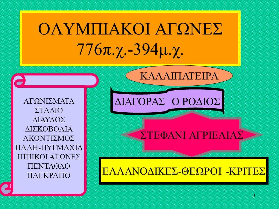 3 ΟΛΥΜΠΙΑΚΟΙ ΑΓΩΝΕΣ 776π.χ.-394μ.χ.