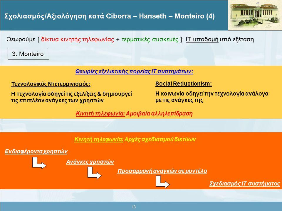 13 Σχολιασμός/Αξιολόγηση κατά Ciborra – Hanseth – Monteiro (4) 3.
