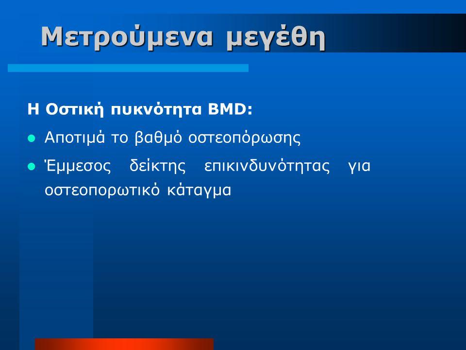 Μετρούμενα μεγέθη H Οστική πυκνότητα BMD: Αποτιμά το βαθμό οστεοπόρωσης Έμμεσος δείκτης επικινδυνότητας για οστεοπορωτικό κάταγμα