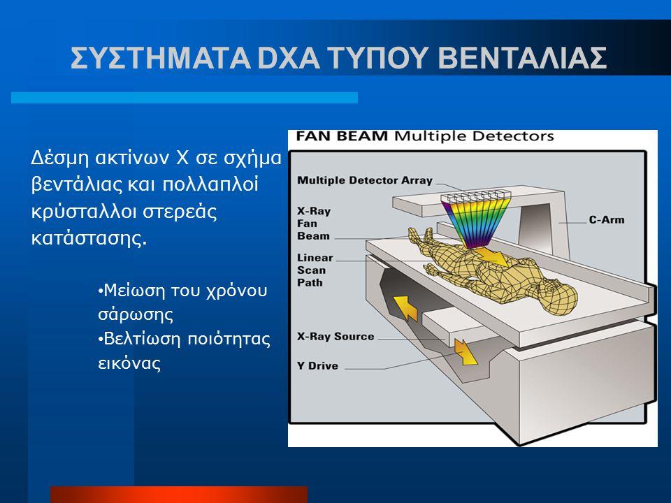 ΣΥΣΤΗΜΑΤA DXA ΤΥΠΟΥ ΒΕΝΤΑΛΙΑΣ Δέσμη ακτίνων Χ σε σχήμα βεντάλιας και πολλαπλοί κρύσταλλοι στερεάς κατάστασης. Μείωση του χρόνου σάρωσης Βελτίωση ποιότ