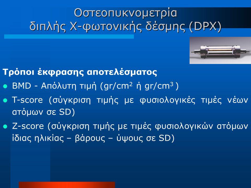 Τρόποι έκφρασης αποτελέσματος BMD - Απόλυτη τιμή (gr/cm 2 ή gr/cm 3 ) T-score (σύγκριση τιμής με φυσιολογικές τιμές νέων ατόμων σε SD) Z-score (σύγκρι