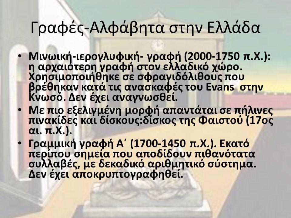 Γραφές-Αλφάβητα στην Ελλάδα Μινωική-ιερογλυφική- γραφή (2000-1750 π.Χ.): η αρχαιότερη γραφή στον ελλαδικό χώρο. Χρησιμοποιήθηκε σε σφραγιδόλιθους που