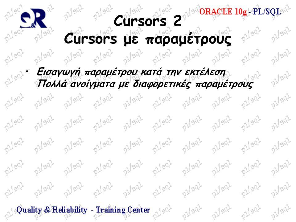 Cursors 2 Cursors με παραμέτρους Εισαγωγή παραμέτρου κατά την εκτέλεση Πολλά ανοίγματα με διαφορετικές παραμέτρους