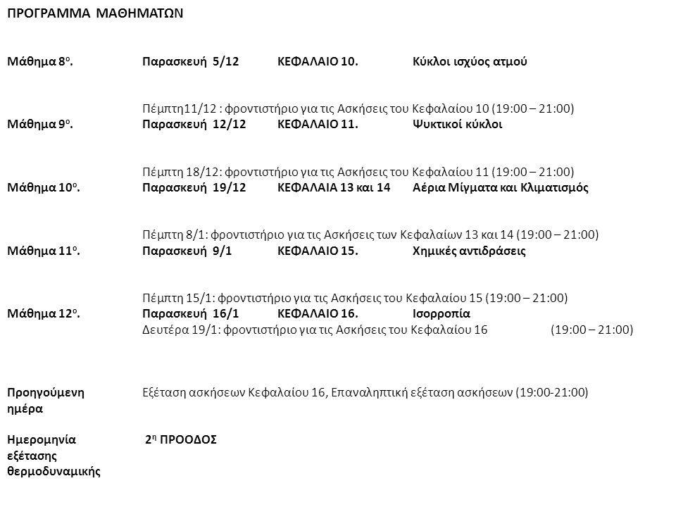ΠΡΟΓΡΑΜΜΑ ΜΑΘΗΜΑΤΩΝ Μάθημα 8 ο.Παρασκευή 5/12 ΚΕΦΑΛΑΙΟ 10. Κύκλοι ισχύος ατμού Πέμπτη11/12 : φροντιστήριο για τις Ασκήσεις του Κεφαλαίου 10 (19:00 – 2