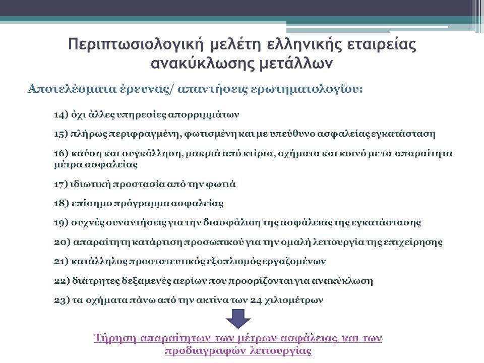 Περιπτωσιολογική μελέτη ελληνικής εταιρείας ανακύκλωσης μετάλλων Αποτελέσματα έρευνας/ απαντήσεις ερωτηματολογίου: 14) όχι άλλες υπηρεσίες απορριμμάτων 15) πλήρως περιφραγμένη, φωτισμένη και με υπεύθυνο ασφαλείας εγκατάσταση 16) καύση και συγκόλληση, μακριά από κτίρια, οχήματα και κοινό με τα απαραίτητα μέτρα ασφαλείας 17) ιδιωτική προστασία από την φωτιά 18) επίσημο πρόγραμμα ασφαλείας 19) συχνές συναντήσεις για την διασφάλιση της ασφάλειας της εγκατάστασης 20) απαραίτητη κατάρτιση προσωπικού για την ομαλή λειτουργία της επιχείρησης 21) κατάλληλος προστατευτικός εξοπλισμός εργαζομένων 22) διάτρητες δεξαμενές αερίων που προορίζονται για ανακύκλωση 23) τα οχήματα πάνω από την ακτίνα των 24 χιλιομέτρων Τήρηση απαραίτητων των μέτρων ασφάλειας και των προδιαγραφών λειτουργίας