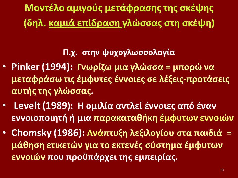 10 Μοντέλο αμιγούς μετάφρασης της σκέψης (δηλ. καμιά επίδραση γλώσσας στη σκέψη) Π.χ.