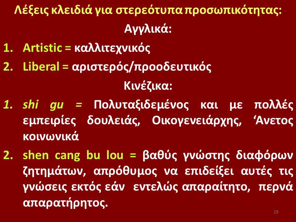 29 Λέξεις κλειδιά για στερεότυπα προσωπικότητας: Αγγλικά: 1.Artistic = καλλιτεχνικός 2.Liberal = αριστερός/προοδευτικός Κινέζικα: 1.shi gu = Πολυταξιδεμένος και με πολλές εμπειρίες δουλειάς, Οικογενειάρχης, 'Ανετος κοινωνικά 2.shen cang bu lou = βαθύς γνώστης διαφόρων ζητημάτων, απρόθυμος να επιδείξει αυτές τις γνώσεις εκτός εάν εντελώς απαραίτητο, περνά απαρατήρητος.