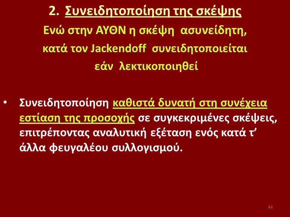 44 2.Συνειδητοποίηση της σκέψης Ενώ στην ΑΥΘΝ η σκέψη ασυνείδητη, κατά τον Jackendoff συνειδητοποιείται εάν λεκτικοποιηθεί Συνειδητοποίηση καθιστά δυνατή στη συνέχεια εστίαση της προσοχής σε συγκεκριμένες σκέψεις, επιτρέποντας αναλυτική εξέταση ενός κατά τ' άλλα φευγαλέου συλλογισμού.