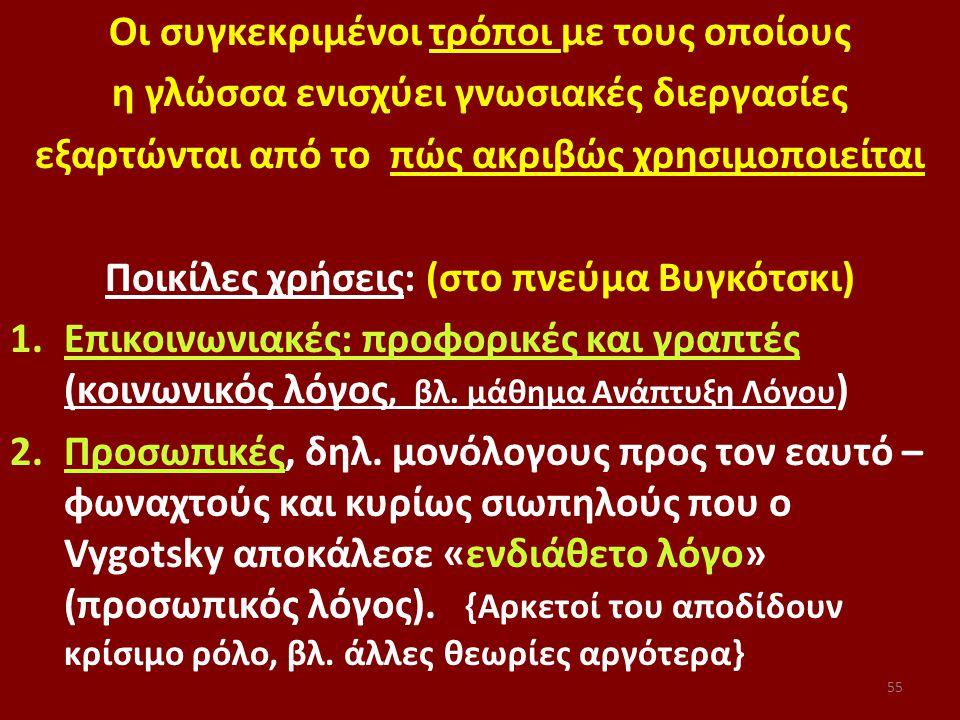 55 Οι συγκεκριμένοι τρόποι με τους οποίους η γλώσσα ενισχύει γνωσιακές διεργασίες εξαρτώνται από το πώς ακριβώς χρησιμοποιείται Ποικίλες χρήσεις: (στο πνεύμα Βυγκότσκι) 1.Επικοινωνιακές: προφορικές και γραπτές (κοινωνικός λόγος, βλ.