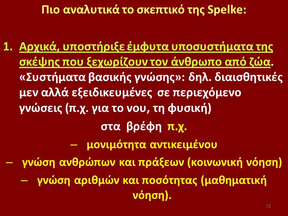 72 Πιο αναλυτικά το σκεπτικό της Spelke: 1.Αρχικά, υποστήριξε έμφυτα υποσυστήματα της σκέψης που ξεχωρίζουν τον άνθρωπο από ζώα.