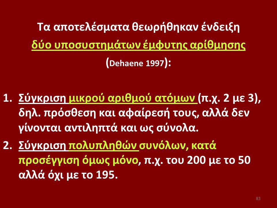 Τα αποτελέσματα θεωρήθηκαν ένδειξη δύο υποσυστημάτων έμφυτης αρίθμησης ( Dehaene 1997 ): 1.Σύγκριση μικρού αριθμού ατόμων (π.χ.