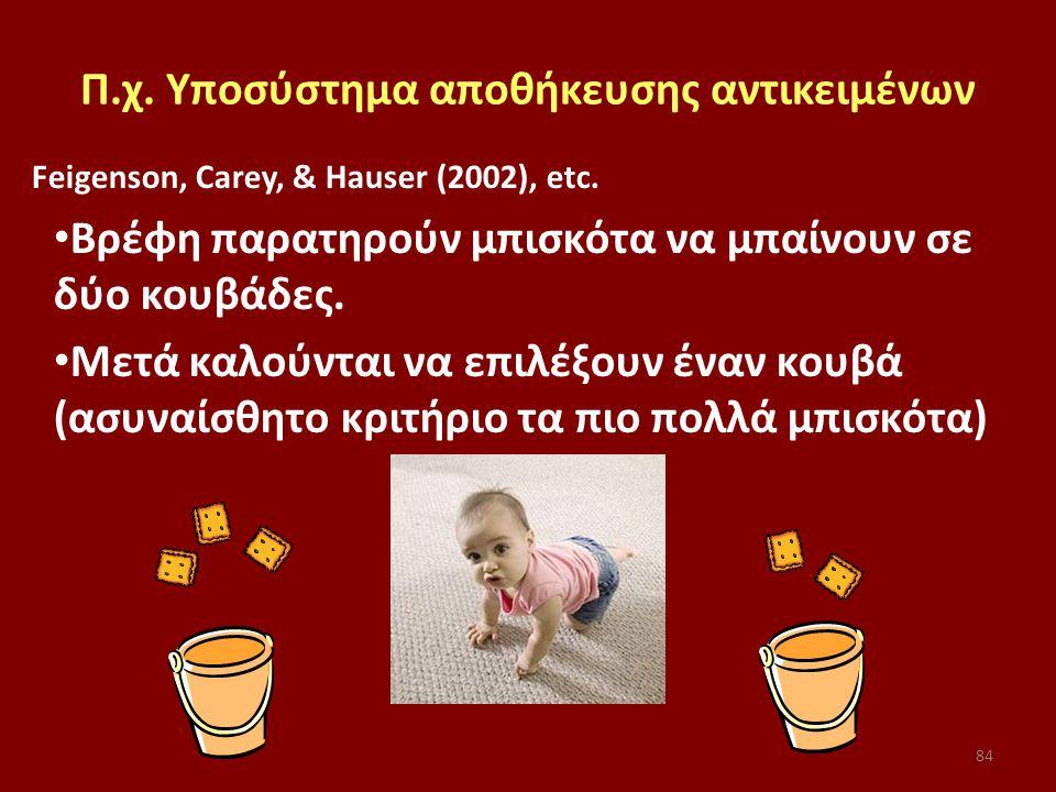 84 Π.χ. Υποσύστημα αποθήκευσης αντικειμένων Feigenson, Carey, & Hauser (2002), etc.