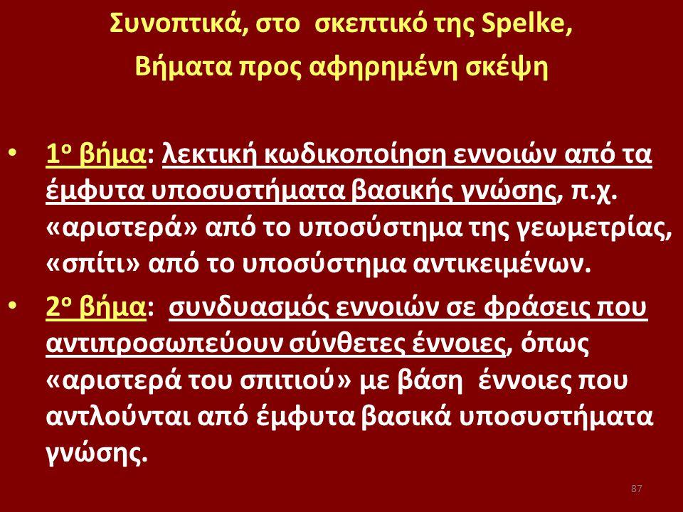 87 Συνοπτικά, στο σκεπτικό της Spelke, Βήματα προς αφηρημένη σκέψη 1 ο βήμα: λεκτική κωδικοποίηση εννοιών από τα έμφυτα υποσυστήματα βασικής γνώσης, π.χ.