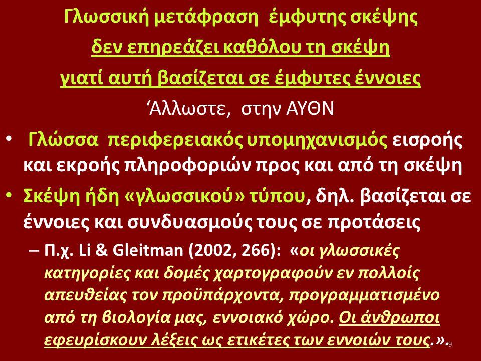9 Γλωσσική μετάφραση έμφυτης σκέψης δεν επηρεάζει καθόλου τη σκέψη γιατί αυτή βασίζεται σε έμφυτες έννοιες 'Αλλωστε, στην ΑΥΘΝ Γλώσσα περιφερειακός υπομηχανισμός εισροής και εκροής πληροφοριών προς και από τη σκέψη Σκέψη ήδη «γλωσσικού» τύπου, δηλ.