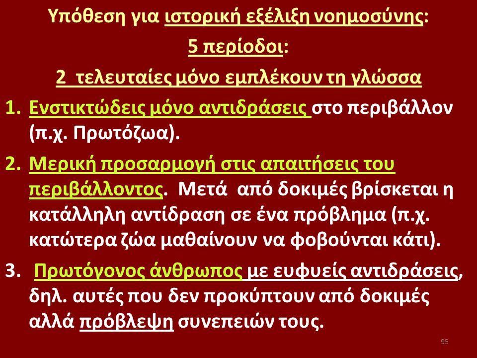 95 Υπόθεση για ιστορική εξέλιξη νοημοσύνης: 5 περίοδοι: 2 τελευταίες μόνο εμπλέκουν τη γλώσσα 1.Ενστικτώδεις μόνο αντιδράσεις στο περιβάλλον (π.χ.