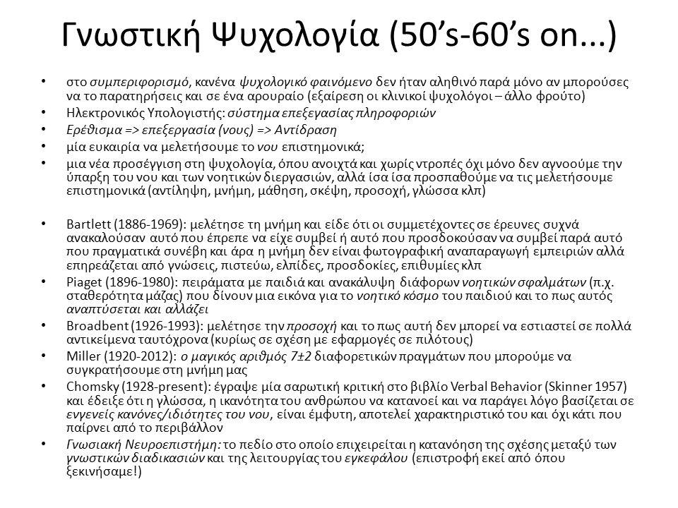 Γνωστική Ψυχολογία (50's-60's on...) στο συμπεριφορισμό, κανένα ψυχολογικό φαινόμενο δεν ήταν αληθινό παρά μόνο αν μπορούσες να το παρατηρήσεις και σε