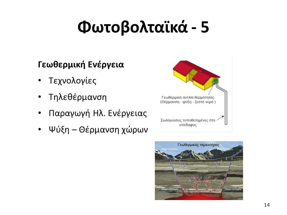 Φωτοβολταϊκά - 5 14 Γεωθερμική Ενέργεια Τεχνολογίες Τηλεθέρμανση Παραγωγή Ηλ. Ενέργειας Ψύξη – Θέρμανση χώρων