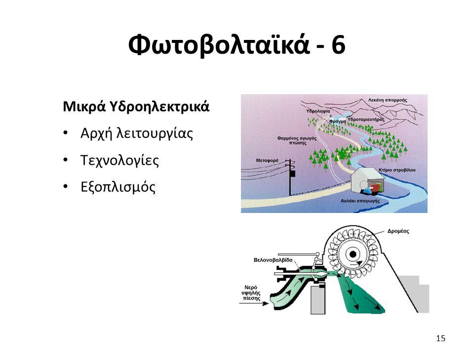Φωτοβολταϊκά - 6 15 Μικρά Υδροηλεκτρικά Αρχή λειτουργίας Τεχνολογίες Εξοπλισμός