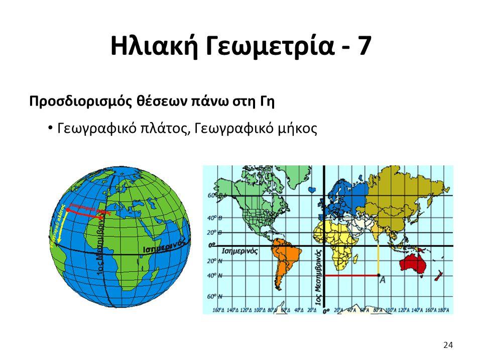 Ηλιακή Γεωμετρία - 7 Προσδιορισμός θέσεων πάνω στη Γη Γεωγραφικό πλάτος, Γεωγραφικό μήκος 24