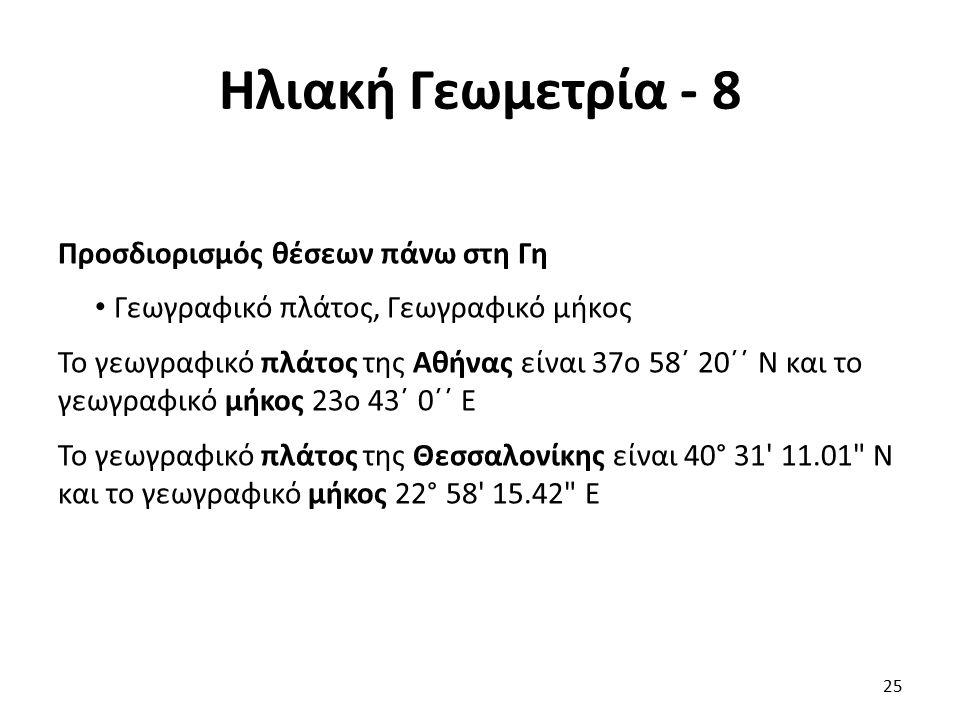 Ηλιακή Γεωμετρία - 8 Προσδιορισμός θέσεων πάνω στη Γη Γεωγραφικό πλάτος, Γεωγραφικό μήκος Το γεωγραφικό πλάτος της Αθήνας είναι 37ο 58΄ 20΄΄ Ν και το