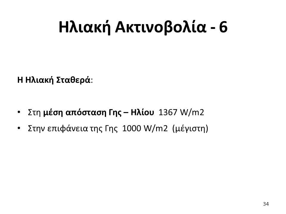 Ηλιακή Ακτινοβολία - 6 Η Ηλιακή Σταθερά: Στη μέση απόσταση Γης – Ηλίου 1367 W/m2 Στην επιφάνεια της Γης 1000 W/m2 (μέγιστη) 34