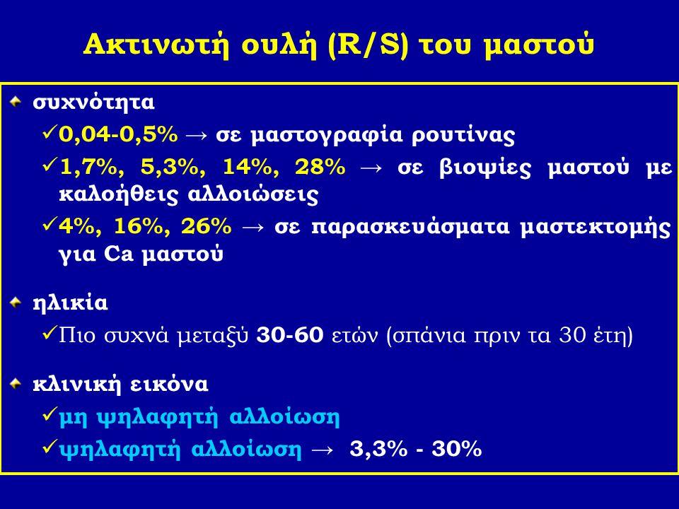 Ακτινωτή ουλή (R/S) του μαστού συχνότητα 0,04-0,5% → σε μαστογραφία ρουτίνας 1,7%, 5,3%, 14%, 28% → σε βιοψίες μαστού με καλοήθεις αλλοιώσεις 4%, 16%,