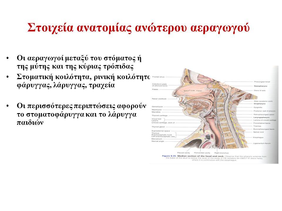 Στοιχεία ανατομίας ανώτερου αεραγωγού Οι αεραγωγοί μεταξύ του στόματος ή της μύτης και της κύριας τρόπιδας Στοματική κοιλότητα, ρινική κοιλότητα, φάρυγγας, λάρυγγας, τραχεία Οι περισσότερες περιπτώσεις αφορούν το στοματοφάρυγγα και το λάρυγγα παιδιών