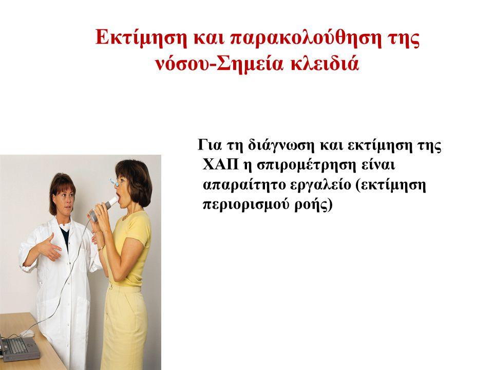 Εκτίμηση και παρακολούθηση της νόσου-Σημεία κλειδιά Για τη διάγνωση και εκτίμηση της ΧΑΠ η σπιρομέτρηση είναι απαραίτητο εργαλείο (εκτίμηση περιορισμού ροής)