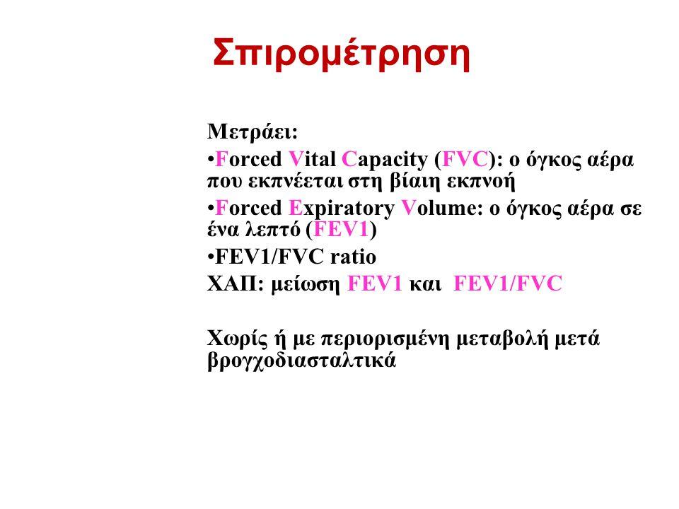 Μετράει: Forced Vital Capacity (FVC): ο όγκος αέρα που εκπνέεται στη βίαιη εκπνοή Forced Expiratory Volume: ο όγκος αέρα σε ένα λεπτό (FEV1) FEV1/FVC ratio ΧΑΠ: μείωση FEV1 και FEV1/FVC Χωρίς ή με περιορισμένη μεταβολή μετά βρογχοδιασταλτικά Σπιρομέτρηση