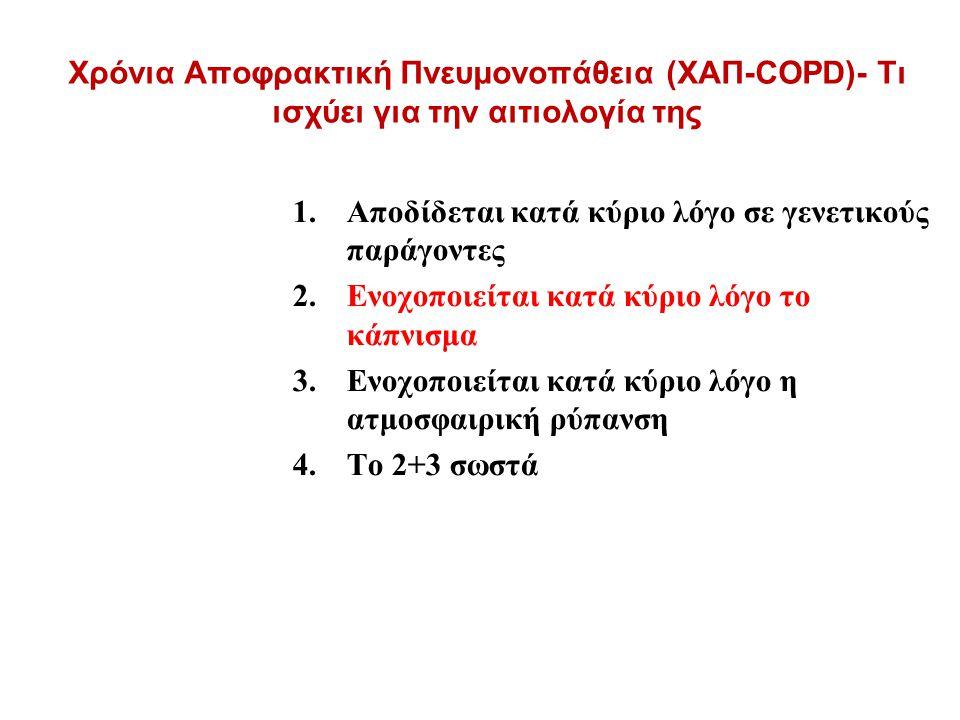 Χρόνια Αποφρακτική Πνευμονοπάθεια (ΧΑΠ-COPD)- Τι ισχύει για την αιτιολογία της 1.Αποδίδεται κατά κύριο λόγο σε γενετικούς παράγοντες 2.Ενοχοποιείται κατά κύριο λόγο το κάπνισμα 3.Ενοχοποιείται κατά κύριο λόγο η ατμοσφαιρική ρύπανση 4.Το 2+3 σωστά