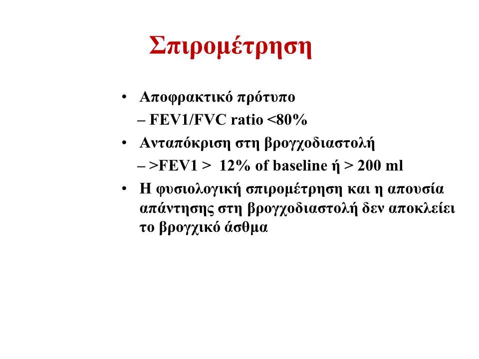 Σπιρομέτρηση Αποφρακτικό πρότυπο – FEV1/FVC ratio <80% Ανταπόκριση στη βρογχοδιαστολή – >FEV1 > 12% of baseline ή > 200 ml Η φυσιολογική σπιρομέτρηση και η απουσία απάντησης στη βρογχοδιαστολή δεν αποκλείει το βρογχικό άσθμα