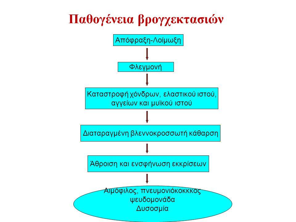 Παθογένεια βρογχεκτασιών Απόφραξη-Λοίμωξη Φλεγμονή Καταστροφή χόνδρων, ελαστικού ιστού, αγγείων και μυϊκού ιστού Διαταραγμένη βλεννοκροσσωτή κάθαρση Άθροιση και ενσφήνωση εκκρίσεων Αιμόφιλος, πνευμονιόκοκκκος ψευδομονάδα Δυσοσμία