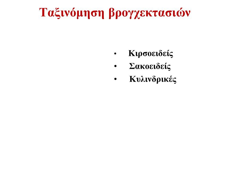 Ταξινόμηση βρογχεκτασιών Κιρσοειδείς Σακοειδείς Κυλινδρικές