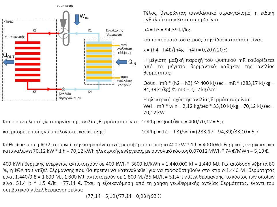 Τέλος, θεωρώντας ισενθαλπικό στραγγαλισμό, η ειδική ενθαλπία στην Κατάσταση 4 είναι: h4 = h3 = 94,39 kJ/kg και το ποσοστό του ατμού, στην ίδια κατάσταση είναι: x = (h4 – h4l)/(h4g – h4l) = 0,20 ή 20 % Η μέγιστη μαζική παροχή του ψυκτικού mR καθορίζεται από το μέγιστο θερμαντικό καθήκον της αντλίας θερμότητας: Qout = mR * (h2 – h3)  400 kJ/sec = mR * (283,17 kJ/kg – 94,39 kJ/kg)  mR = 2,12 kg/sec Η ηλεκτρική ισχύς της αντλίας θερμότητας είναι: Wel = mR * win = 2,12 kg/sec * 33,10 kJ/kg = 70,12 kJ/sec = 70,12 kW Και ο συντελεστής λειτουργίας της αντλίας θερμότητας είναι:COPhp = Qout/Win = 400/70,12 = 5,7 και μπορεί επίσης να υπολογιστεί και ως εξής:COPhp = (h2 – h3)/win = (283,17 – 94,39)/33,10 = 5,7 Κάθε ώρα που η ΑΘ λειτουργεί στην παραπάνω ισχύ, μεταφέρει στο κτίριο 400 kW * 1 h = 400 kWh θερμικής ενέργειας και καταναλώνει 70,12 kW * 1 h = 70,12 kWh ηλεκτρικής ενέργειας, με συνολικό κόστος 0,07012 MWh * 74 €/MWh = 5,19 €.