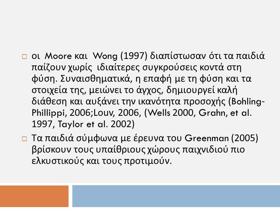 οι Moore και Wong (1997) διαπίστωσαν ότι τα παιδιά παίζουν χωρίς ιδιαίτερες συγκρούσεις κοντά στη φύση. Συναισθηματικά, η επαφή με τη φύση και τα στ