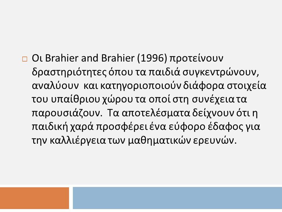  Οι Brahier and Brahier (1996) προτείνουν δραστηριότητες όπου τα παιδιά συγκεντρώνουν, αναλύουν και κατηγοριοποιούν διάφορα στοιχεία του υπαίθριου χώρου τα οποί στη συνέχεια τα παρουσιάζουν.