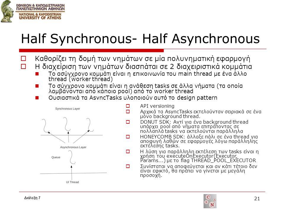 Half Synchronous- Half Asynchronous  Καθορίζει τη δομή των νημάτων σε μία πολυνηματική εφαρμογή  Η διαχείριση των νημάτων διασπάται σε 2 διαχειριστικά κομμάτια Το ασύγχρονο κομμάτι είναι η επικοινωνία του main thread με ένα άλλο thread (worker thread) To σύγχρονο κομμάτι είναι η ανάθεση tasks σε άλλα νήματα (τα οποία λαμβάνονται από κάποιο pool) από το worker thread Ουσιαστικά τα AsyncTasks υλοποιούν αυτό το design pattern Διάλεξη 7 21  API versioning  Αρχικά τα AsyncTasks εκτελούνταν σειριακά σε ένα μόνο background thread.