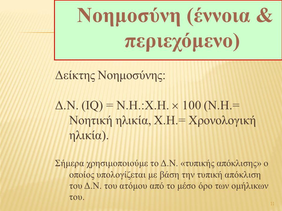 11 Δείκτης Νοημοσύνης: Δ.Ν. (IQ) = Ν.Η.  Χ.Η.