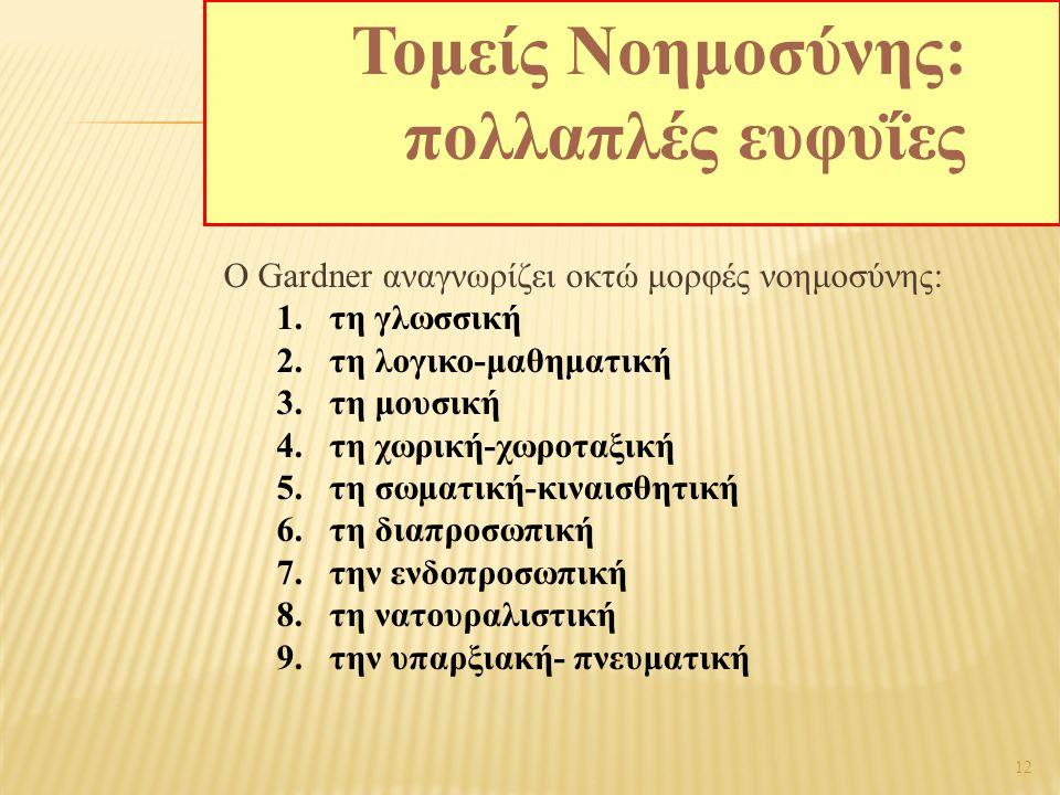 12 Ο Gardner αναγνωρίζει οκτώ μορφές νοημοσύνης: 1.τη γλωσσική 2.τη λογικο-μαθηματική 3.τη μουσική 4.τη χωρική-χωροταξική 5.τη σωματική-κιναισθητική 6.τη διαπροσωπική 7.την ενδοπροσωπική 8.τη νατουραλιστική 9.την υπαρξιακή- πνευματική Τομείς Νοημοσύνης: πολλαπλές ευφυΐες