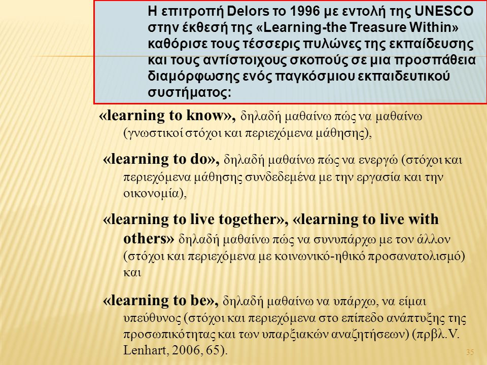 35 «learning to know», δηλαδή μαθαίνω πώς να μαθαίνω (γνωστικοί στόχοι και περιεχόμενα μάθησης), «learning to do», δηλαδή μαθαίνω πώς να ενεργώ (στόχο