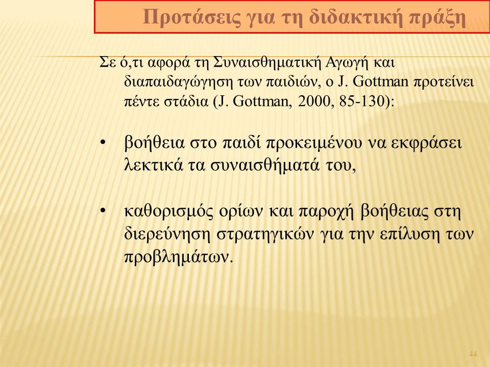 44 Σε ό,τι αφορά τη Συναισθηματική Αγωγή και διαπαιδαγώγηση των παιδιών, ο J.