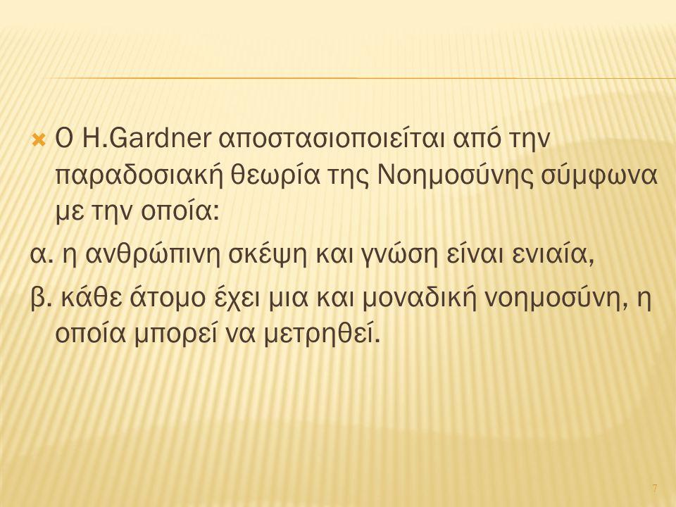 Ο Gardner ορίζει τη Νοημοσύνη ως την ικανότητα του ατόμου: * να λύνει προβλήματα στη ζωή του, * να εντοπίζει νέα προβλήματα και να τα αντιμετωπίζει ως προκλήσεις, * να προσφέρει υπηρεσίες στους συνανθρώπους του και στην κοινωνία.