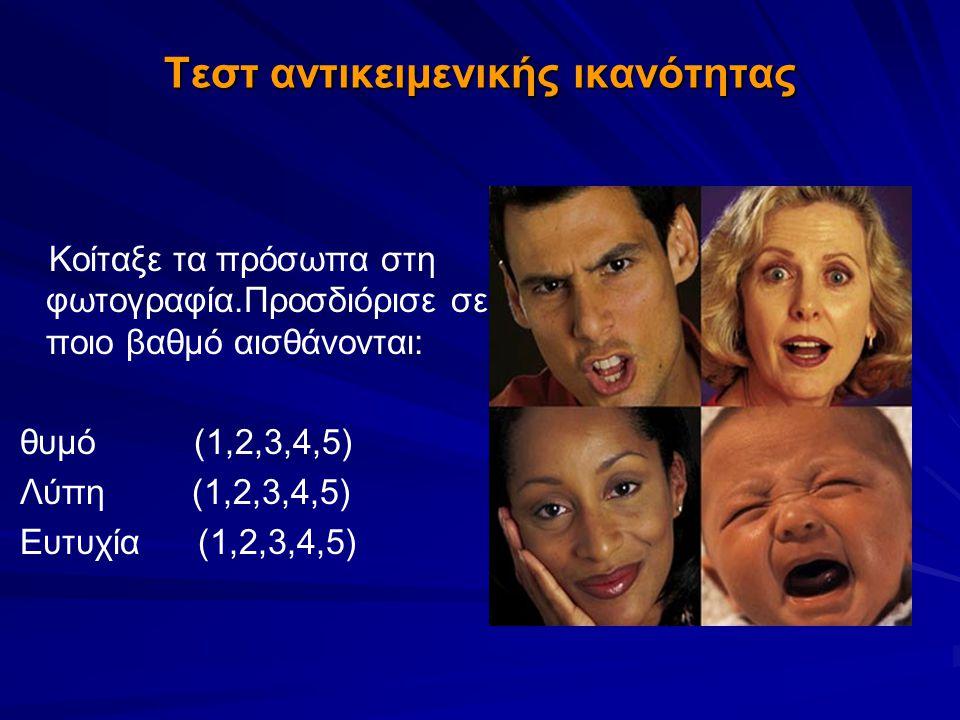 Τεστ αντικειμενικής ικανότητας Κοίταξε τα πρόσωπα στη φωτογραφία.Προσδιόρισε σε ποιο βαθμό αισθάνονται: θυμό (1,2,3,4,5) Λύπη (1,2,3,4,5) Ευτυχία (1,2