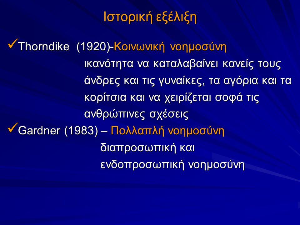 Mayer & Salovey (1993) – Συναισθηματική Mayer & Salovey (1993) – Συναισθηματική νοημοσύνη νοημοσύνη Ικανότητα να κατανοεί κανείς τα συναισθήματα Ικανότητα να κατανοεί κανείς τα συναισθήματα τόσο τα δικά του όσο και των άλλων τόσο τα δικά του όσο και των άλλων Να κάνει λεπτές διακρίσεις ανάμεσα στα διάφορα Να κάνει λεπτές διακρίσεις ανάμεσα στα διάφορα συναισθήματα και να χρησιμοποιεί αυτές τις συναισθήματα και να χρησιμοποιεί αυτές τις πληροφορίες ώστε να καθοδηγεί αναλόγως τις πληροφορίες ώστε να καθοδηγεί αναλόγως τις σκέψεις και τις πράξεις του σκέψεις και τις πράξεις του