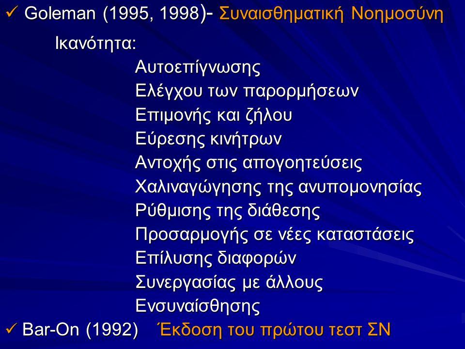 Goleman (1995, 1998 )- Συναισθηματική Νοημοσύνη Goleman (1995, 1998 )- Συναισθηματική Νοημοσύνη Ικανότητα: Ικανότητα: Αυτοεπίγνωσης Αυτοεπίγνωσης Ελέγ