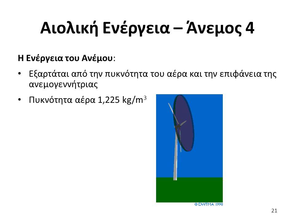 Αιολική Ενέργεια – Άνεμος 4 Η Ενέργεια του Ανέμου: Εξαρτάται από την πυκνότητα του αέρα και την επιφάνεια της ανεμογεννήτριας Πυκνότητα αέρα 1,225 kg/
